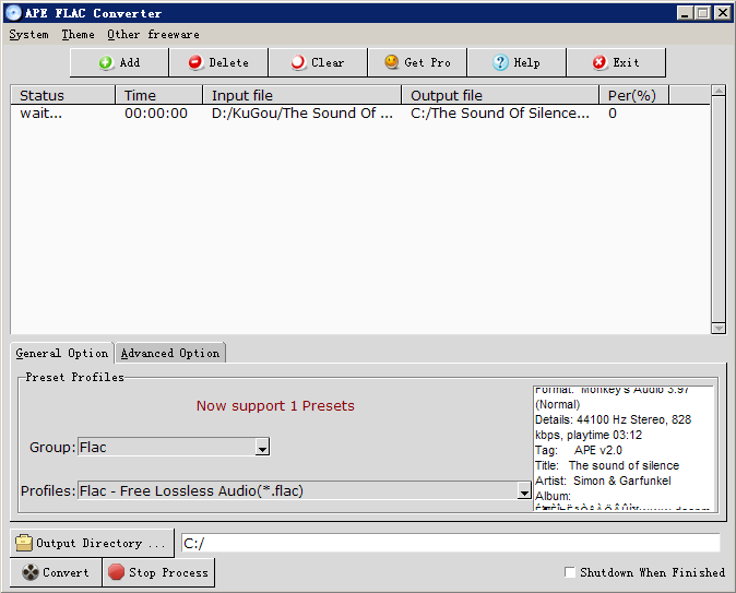 Windows 7 APE FLAC Converter 1.0.3 full