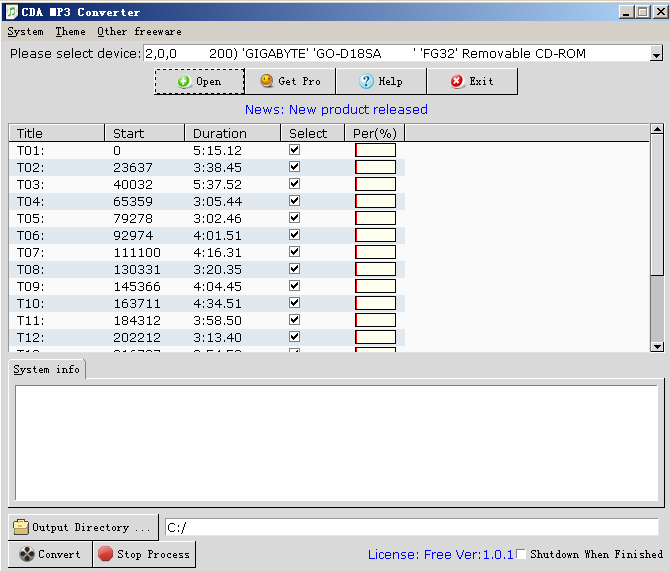 CDA MP3 Converter 1.0.1 full